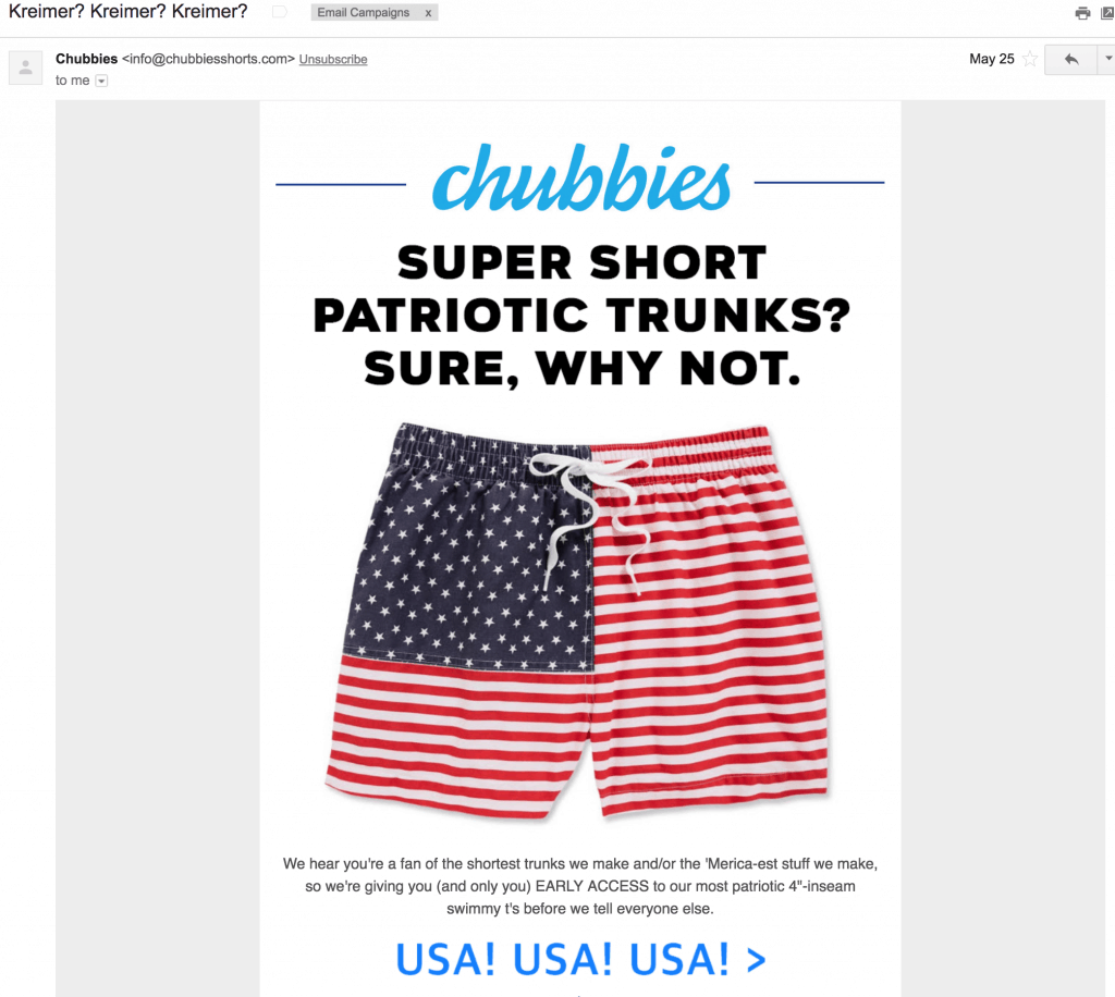 chubbies email promotion