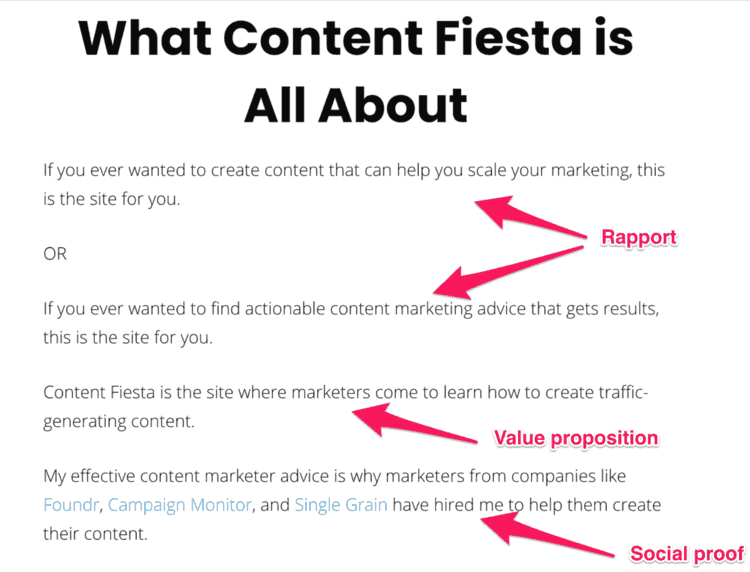 content fiesta about page