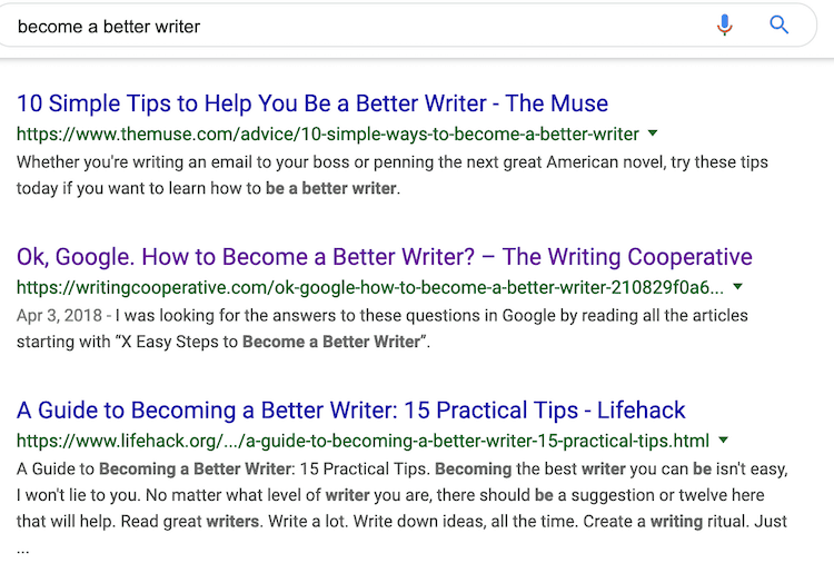 WRITING TIPS GOOGLE RESULTS