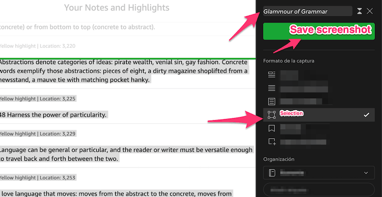 evernote selection