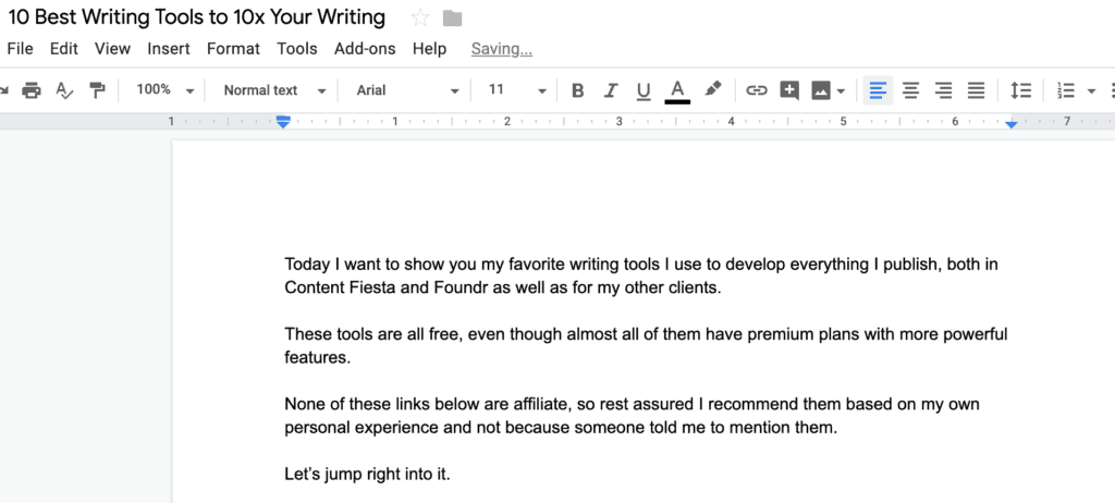GOOGLE DOCS WRITING TOOL