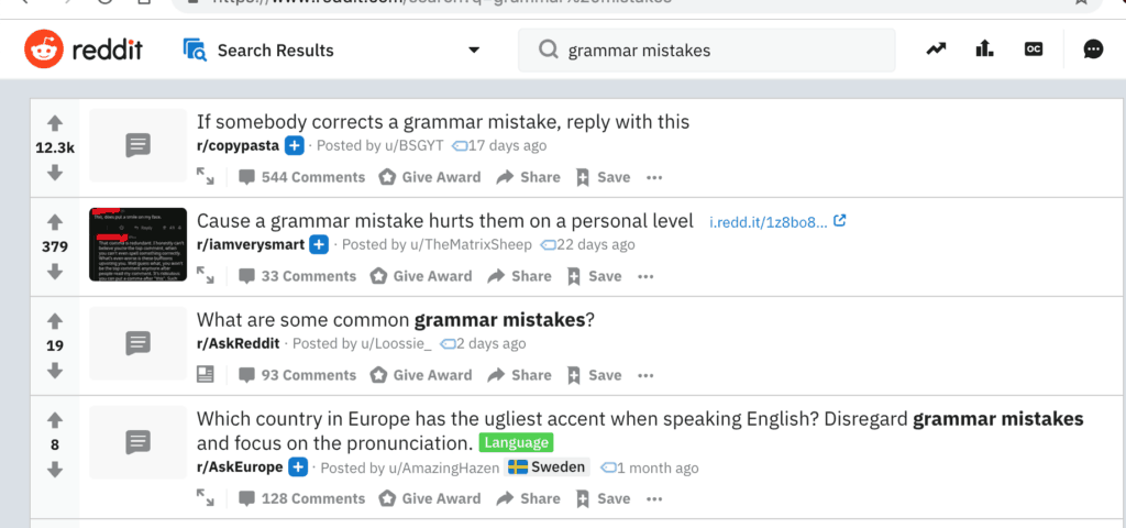 REDDIT GRAMMAR MISTAKES