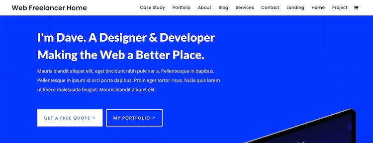 divi web freelancer layout