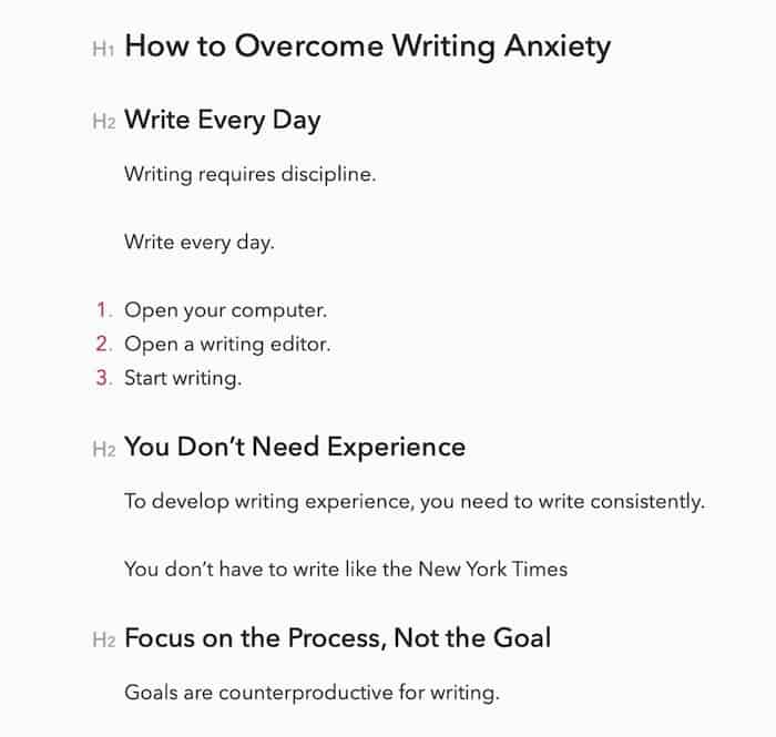 writing anxiety